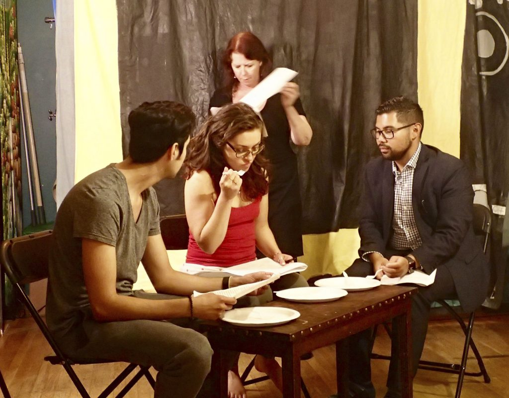 You Too actors Jess Lazkano, Courtney Hartman, Venee Call-Ferrer, and Alejandro Estaqvio rehearsing
