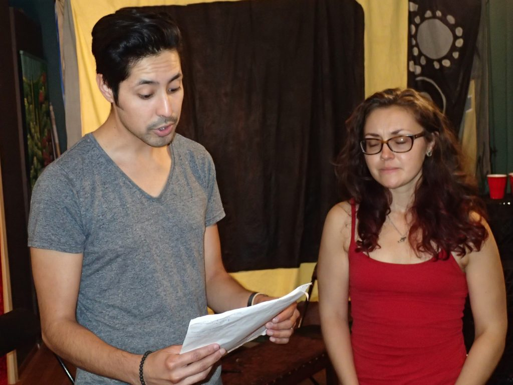 You Too actors Jess Lazkano and Courtney Hartman rehearsing