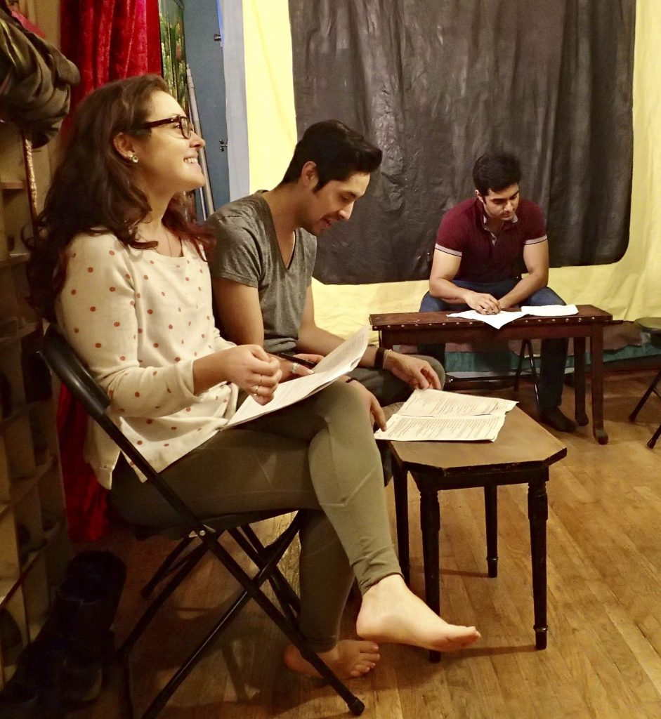 You Too actors Jess Lazkano, Courtney Hartman, and Nadeem Anjum rehearsing