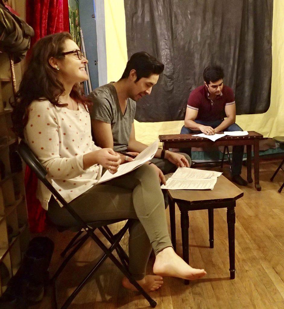 You Too actors Jess Lazkano, Courtney Hartman, and Nadeem Anjum rehearsing