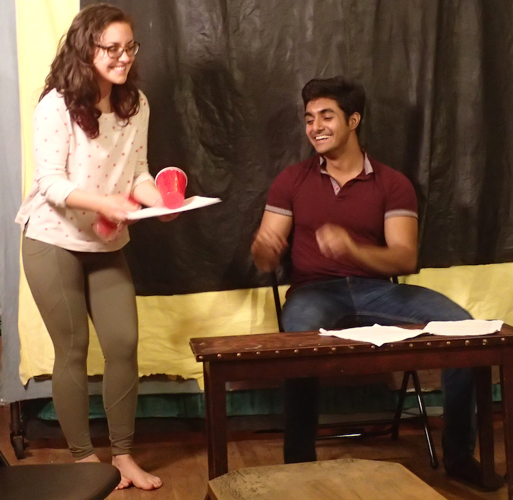 You Too actors Courtney Hartman and Nadeem Anjum rehearsing