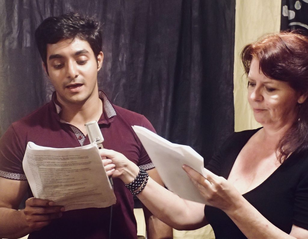 You Too actors Nadeem Anjum and Venee Call-Ferrer rehearsing